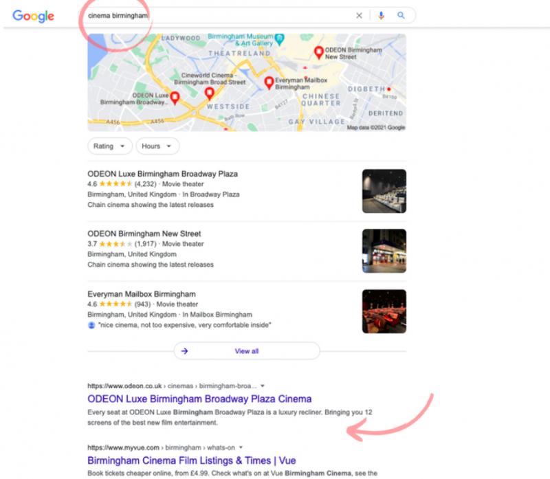 cinema search example