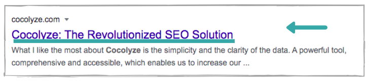 Title tag emplacement on SERPs