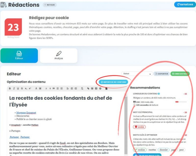 exemple outil rédaction Cocolyze - recette cookie